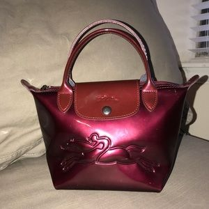 Longchamp Maroon Patent Leather Small Satchel